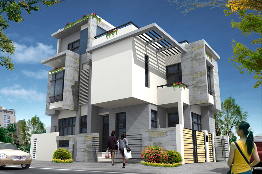 Front Elevation Of Corner Houses : Square meter sqft house elevation october